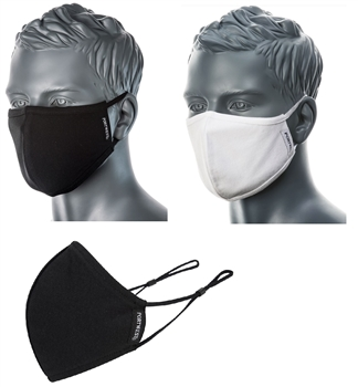 Portwest CV22 2-Ply Cotton Antimicrobial Fabric Face Mask, Breathable, Washable, Reusable, Black or White, Box/25
