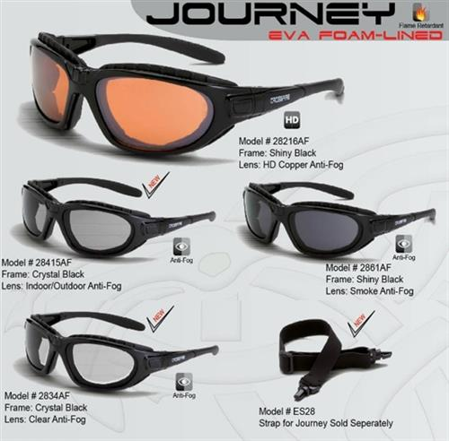 CrossFire Journey Safety Glass Series with Foam Line Goggle and Strap Option