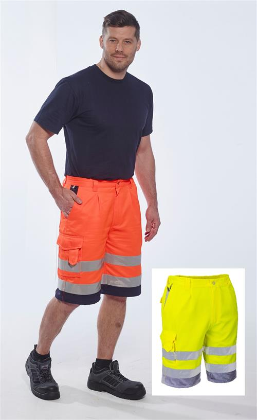 Portwest E043 Hi Vis Polycotton Shorts, TEXPEL SOS Finish for Splash, Oil & Stain Repellent, Class E Hi Vis Yellow or Hi Vis Orange