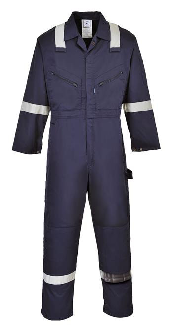 Portwest F813 Iona Polycotton Coverall with Silver Reflective Tape, 7 oz. Kingsmill, Navy