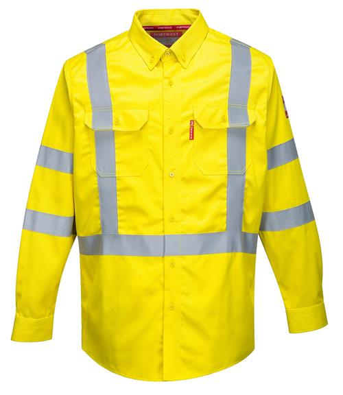 Portwest FR95 Bizflame 88/12 FR Arc Rated Hi-Vis Class 3 Button Shirt, 70E / 2112, ATPV 9 Cal