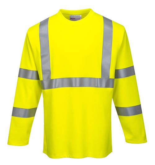 Portwest FR96 FR Arc Rated Hi-Vis Class 3 Long Sleeve T-Shirt, ATPV 9 Cal, Anti-Static ModaFlame Flame Resistant Knit