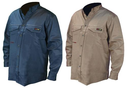 Radians FRS-001 VolCore Long Sleeve Button Down FR Shirt, ATPV 8.9 Cal, NFPA 2112, 70E PPE CAT 2, Navy or Khaki