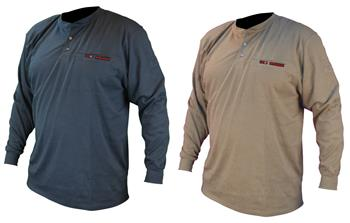 Radians FRS-002 VolCore Long Sleeve Cotton Henley FR Shirt, ATPV 11 Cal, NFPA 2112, 70E PPE CAT 2, Navy or Khaki