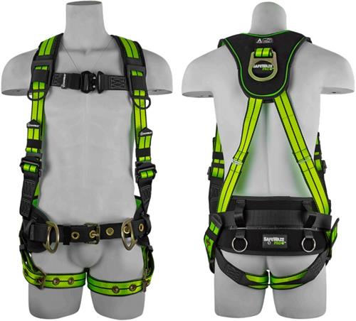 SafeWaze FS-FLEX360 Pro+ Premium Construction Harness with Flex Design, Belt, Waist Pad, Back & Side D-Rings, Grommet Leg Straps
