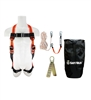 SafeWaze FS-ROOF-E-BP Premium Roofing Kit with pass through leg harness, reusable roof anchor, and rope lifeline packaged in a backpack.