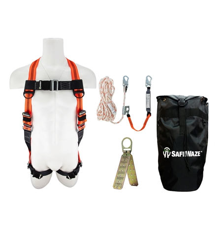 SafeWaze FS120-E-1118DC-BP  V-Line Roofer's Fall Protection Kit with Dual Cam Rope Grab in a Backpack