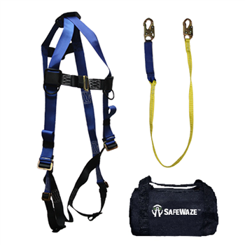 SafeWaze FS126-E-DL V-Line Fall Protection Kit with Universal Harness, 6' Dual Leg Shock Lanyard in a Bag