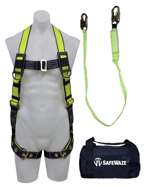 SafeWaze FS141 Fall Protection Kit with Tangle Free Grommet Leg Harness, 6' Shock Lanyard in a Bag