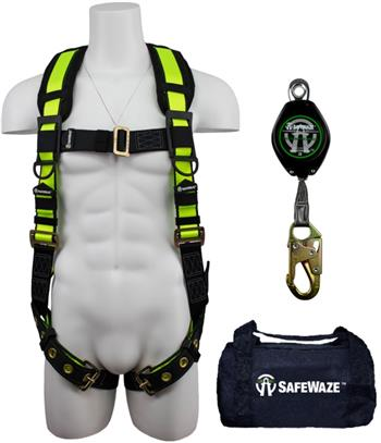 SafeWaze FS146 Fall Protection Kit with No-Tangle Grommet Leg Harness, 7' Class A Web Retractable in a Bag
