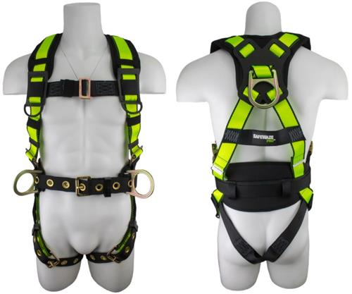 SafeWaze FS160 Pro No Tangle Construction Harness with Side D-Rings, Free Floating Waist Pad, Removable Grommet Belt, Grommet Leg Straps