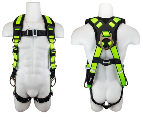 SafeWaze FS281 PRO Vest Harness, Back & Side D-Rings, Shoulder Pads, Pass Thru Buckles