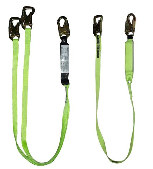 SafeWaze FS450 Series Tie-Back Lanyards, Shock Absorber and 5,000 lb Gate Rated Snap Hooks, 6 ft or Adjustable, Single or Dual Leg Options