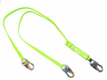 SafeWaze FS561 Series Dual Leg Lanyards with Shock Absorber and 3,600 lb Gate Rated Snap Hooks