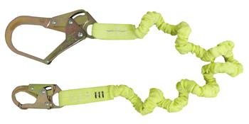 SafeWaze FS590 Stretch Lanyard 4' - 6', Tubular / Low Profile Enerygy Absorbant and Snap Hooks
