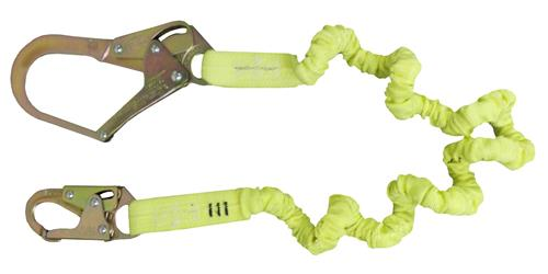 SafeWaze FS590 Series Stretch Lanyard Tubular / Low Profile, Snap or Rebar Hook and Single or Dual Leg Options