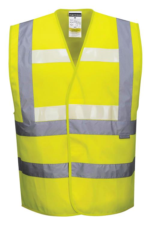 PortWest G470 Glowtex Hi Vis Triple Technology Vest, ANSI Class 2, Lightweight, Hi Vis Yellow, Glow In The Dark Light Emitting Technology