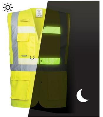 PortWest G476 Glowtex Hi Vis Triple Vest, ANSI Class 2 Type R, Glow In The Dark Light Emitting Technology