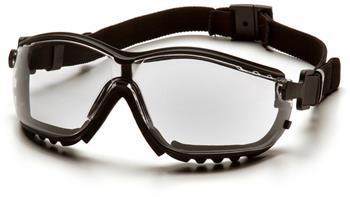Pyramex GB1810ST Safety Glasses, V2G Eyewear Clear Anti-Fog Lens with Black Strap/Temples, Qty: Box/12 prs