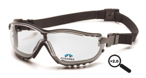 Pyramex GB1810STR20 Safety Glasses, V2G Readers Eyewear +2.0 Clear Lens with Black Strap/Temples, Qty: Box/12 prs
