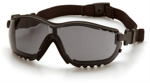 Pyramex GB1820ST Safety Glasses, V2G Eyewear Gray Anti-Fog Lens with Black Strap/Temples, Qty: Box/12 prs