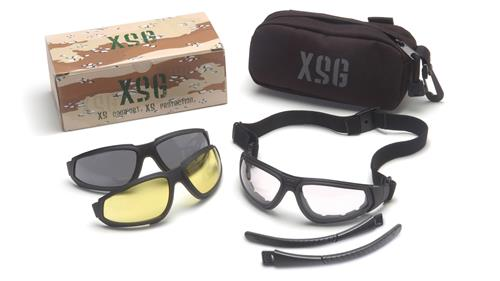 Pyramex GB4010KIT Safety Glasses, XSG Eyewear Kit Clear, Gray, Amber Ballistic Lenses with Black Frame, Qty: 1 Kit