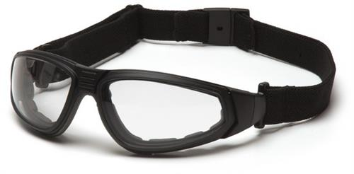 Pyramex GB4010ST Safety Glasses, XSG Eyewear Clear Anti-Fog Lens with Black Strap/Temples, Qty: Box/12 prs