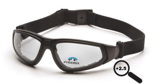 Pyramex GB4010STR25 Safety Glasses, XSG Readers Eyewear Clear Anti-Fog +2.5 Lens with Black Strap/Temples, Qty: Box/12 prs