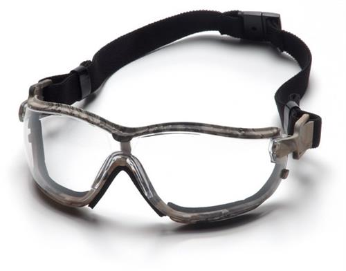 Pyramex GC1810ST Safety Glasses, V2G Clear Anti-Fog Lens with Black Strap/Realtree Temples, Qty: Box/12 prs