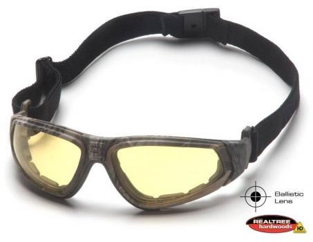 Pyramex GC4030BST Safety Glasses, XSG Eyewear Amber Ballistic Anti-Fog Lens with Black Strap/Realtree Temples, Qty: Box/12 prs