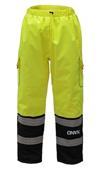 GSS Safety 8711 ONYX Class E Ripstop Insulated Winter Pants with Segmented Tape, Hi Vis Lime & Black