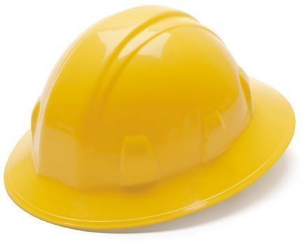 Pyramex HP24130 Yellow Full Brim Style 4 Point Ratchet Suspension Hard Hat, Qty: Box/12