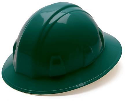 Pyramex HP24135 Green Full Brim Style 4 Point Ratchet Suspension Hard Hat, Qty: Box/12