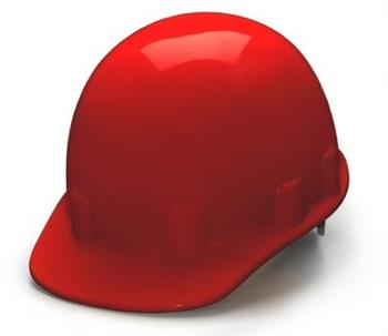 Pyramex HPS14120 Red Cap Style 4 Point Ratchet Sleek Shell Hard Hat, Qty: Box/12