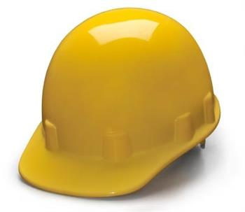 Pyramex HPS14130 Yellow Cap Style 4 Point Ratchet Sleek Shell Hard Hat, Qty: Box/12