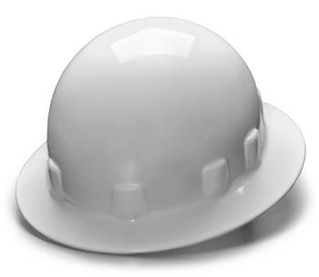 Pyramex HPS24110 White Full Brim 4 Point Ratchet Sleek Shell Hard Hat, Qty: Box/12
