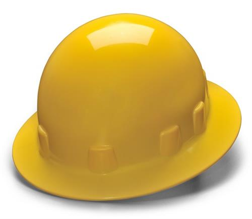 Pyramex HPS24130 Yellow Full Brim 4 Point Ratchet Sleek Shell Hard Hat, Qty: Box/12