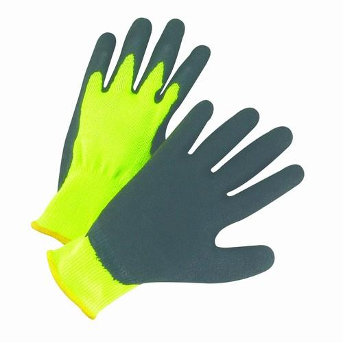 West Chester HVG700SLC NEW Hi-Vis Fluorescent Green Seamless, Black Latex Palm Coated String Knit Gloves