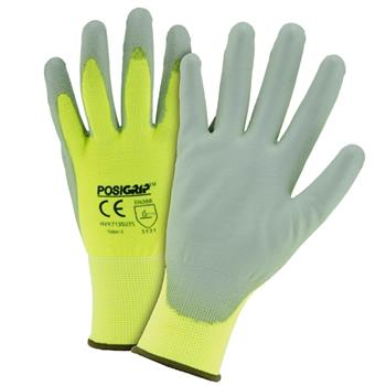 West Chester HVY713SUTS Tacto Touch Screen Gloves, Gray PU Palm Coated, 13g Hi vis Yellow Nylon Shell - Box/12 Pairs