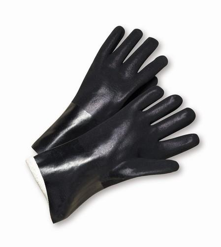 "West Chester J1087RF Black PVC Coated, 18"" Length, Sandpaper Grip, Jersey Lined Gloves"