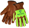 West Chester KS993KOAB Premium Grain Goatskin Leather Drivers Gloves, Bumper Protection, Oil & Aqua Armor Finish, Cut Level A4, Arc Flash 4 Rated, Pair