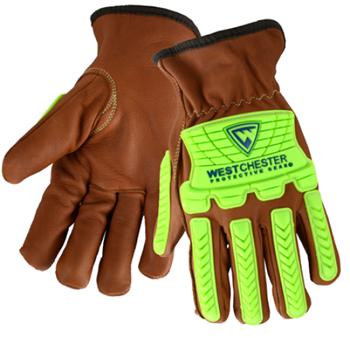 West Chester KS993KOAB Premium Grain Goatskin Drivers Gloves, Bumper Protection, Oil & Aqua Armor Finish, Cut Level A4, Arc Flash 4 Rated, Pair
