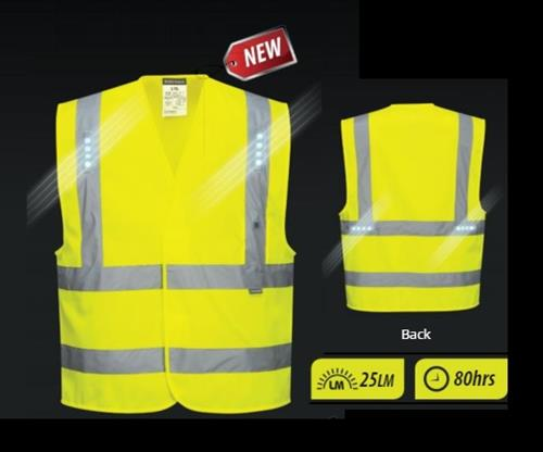 PortWest L470 Vega LED Vest, ANSI Class 2, Built In LED Lights, Hi Vis Yellow