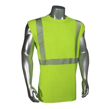 Radians LHV-UXTS-NSC2 Ultra BreezeLite II Hi Vis Green Moisture Wicking Class 2 NO-Sleeve T-Shirt