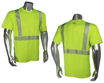 Radians LHV-UXTS-SSC2 Ultra BreezeLite II Hi Vis Green Moisture Wicking Class 2 Short Sleeve T-Shirt