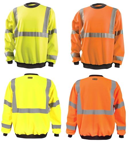 OccuNomix LUX-CSWT Hi Vis Crew Sweatshirt, ANSI Class 3, Wicking, 9 oz. Fabric Wt, Hi Vis Yellow or Hi Vis Orange
