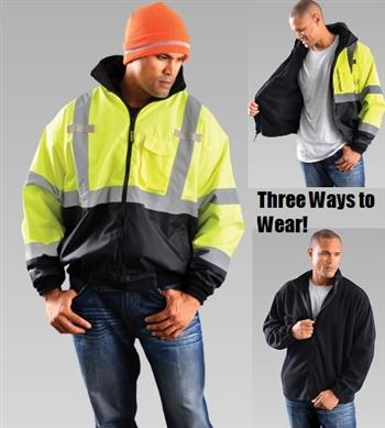 OccuNomix LUX-ETJBJR Classic Three-Way Hi Vis Black Bottom Bomber Jacket