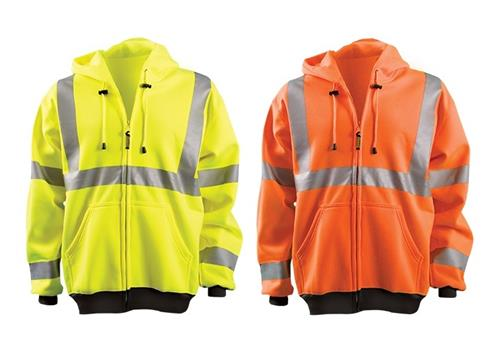 OccuNomix LUX-HZSWT Hi Vis Full Zip Hoodie Sweatshirt, ANSI Type R Class 3, Wicking 9 oz. Polyester, Hi Vis Yellow or Hi Vis Orange