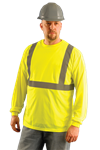 OccuNomix LUX-LSET2B Hi Vis Yellow Class 2 Long Sleeve Wicking Birdseye T-Shirt, ANSI Class 2, 3.8 oz. Fabric Wt,