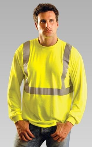 OccuNomix LUX-LST2 Hi Vis Yellow Class 2 Premium Long Sleeve Wicking T-Shirt